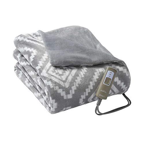 Sunbeam Electric Heated Blanket Throw Velveteen Soft Plush Reversible Throw, Personal 3-Heat Controller, (Grey Aztec)