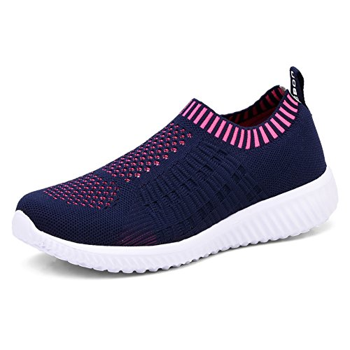 TIOSEBON Women's Athletic Shoes Casual Mesh Walking Sneakers - Breathable Running Shoes, Navy, 9.5 US (41)