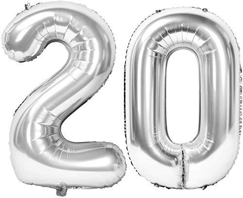 XXL 20 Geburtstagszahlen Luftballon Ballon Silber als aufblasbare Zahlen Geburtstagsluftballons Folienballon Geburtstag und Hochzeitstag Deko 100cm