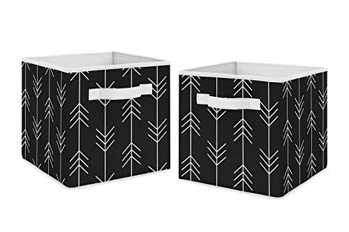 Sweet Jojo Designs - Juego de 2 cajas organizadoras de almacenamiento para colección de parches rústicos, diseño de flechas de bosque, color blanco y negro
