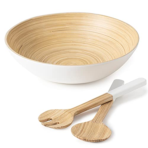 Premium Bamboo Salad Bowl and Servers Set – Large 28cm Wooden Salad Bowl with Contemporary Smooth White Finish - Eco Friendly - Easy to Clean & Durable - Ideal for Dinner Parties & Family Gatherings