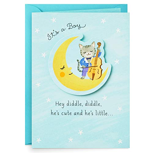 Hallmark Paper Wonder Pop Up Baby Shower Card for Baby Boy (Over The Moon) (399RZW1048)