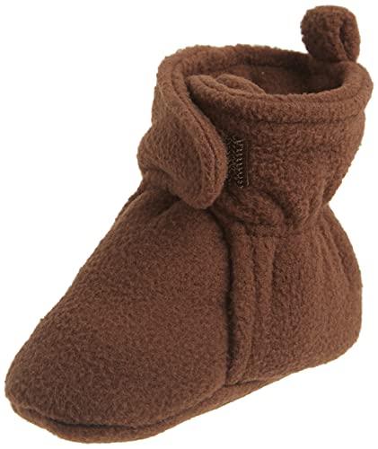 Hudson Baby Unisex Cozy Fleece Booties, Brown, 0-6 Months
