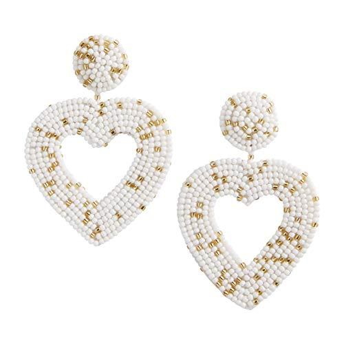 Mud Pie Women's Beaded Heart Earrings, White, One Size Fits Most