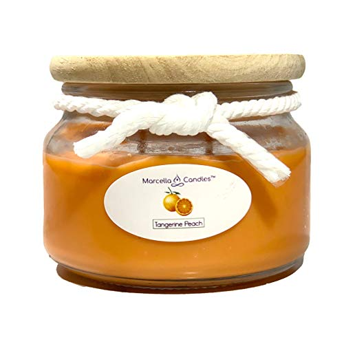 Peach Scented Candle, 8oz Tangerine Peach 2 Wick Candle, Soy Scented Candle Set Includes 8oz Tangerine Peach Soy Candle & Marcella Mini Scented Candle