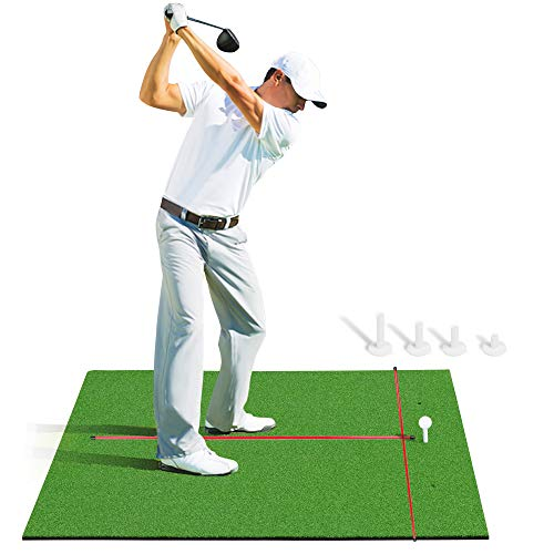 Champkey Premium Golf Hitting Mats  Synthetic Turf with Rubber Foam Padding Golf Practice Mats   Come with 2 Alignment Sticks and 4 Rubber Tees
