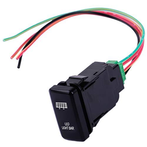 QBV Interruptor de Encendido/Apagado de botón de luz antiniebla LED de 12 V con Cable de arnés Apto para Toyota Prado Landcruiser FJ Cruiser Tacoma Hilux Número de Puerto 5 Pines (Color : White)