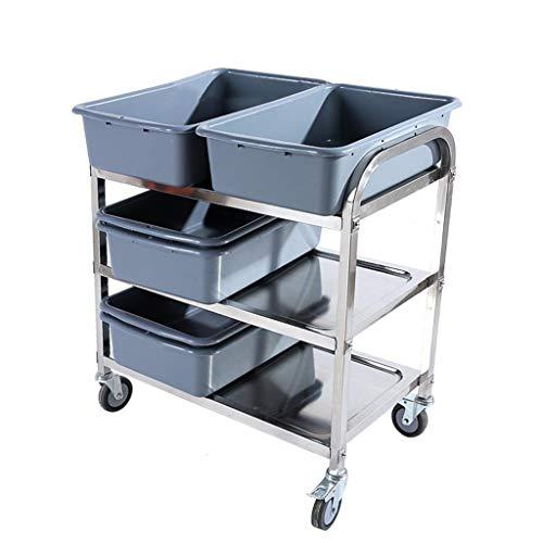 Collecte d'une voiture-restaurant, acier inoxydable de trois étages avec un chariot de service de cuvette, véhicules de collecte de frein de déplacement de plastique PP (taille : 95 * 50 * 95cm)