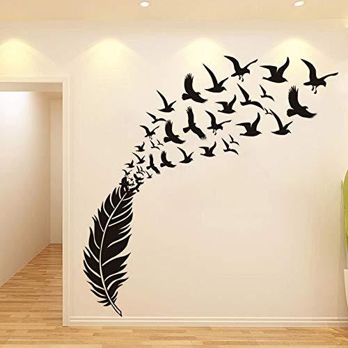 Wrattenmuursticker Literaire stijl, Vogel Veer Gesneden Muur Vasthouden aan Nordic Woonkamer Wanddecoratie, Zwart