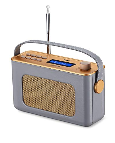 UEME Retro Digitalradio mit Bluetooth, DAB+ DAB UKW Radio, Radiowecker, und Leder Verkleiden (Grau)