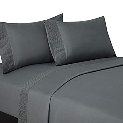 Bedsure Queen Size Sheets- Ruffled Embossed Bed Sheet Set - Soft Brushed Microfiber, Wrinkle Resistant Sheet - 14 inches Deep Pocket - 4-Pieces (Dark Grey)