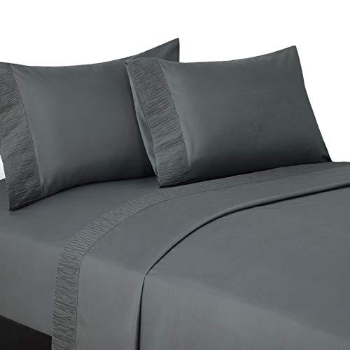 Bedsure Queen Bed Sheets Set Grey - Soft 1800 Bedding Sheets & Pillowcases Sets, 4 Pieces Queen Sheet Set