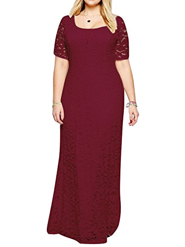 ZiXing Groß Größe Damen Elegante Abendkleid Kurzärmeliges Bodenlang Kleid Spitze Abendanzug Rot 7XL(Büste:122CM-132CM)