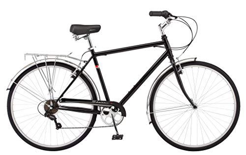 Schwinn Wayfarer Adult Bike Hybrid Retro-Styled Cruiser, 18-Inch/Medium Steel Step-Over Frame, 7-Speed Drivetrain, Rear Rack, 700C Wheels, Blue