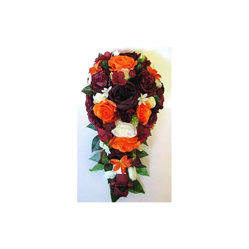silk flower arrangements 17 piece wedding bouquet set bridal bouquet sets orange eggplant burgundy fall silk flower bouquet wedding flowers rosesanddreams bride cascade bouquet, bridesmaid, boutonniere, corsage