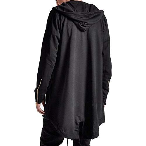 Mens Hooded Cardigan Coat Open Edge Long Cloak Cape Loose Casual Jacket with Pockets (Black, L)