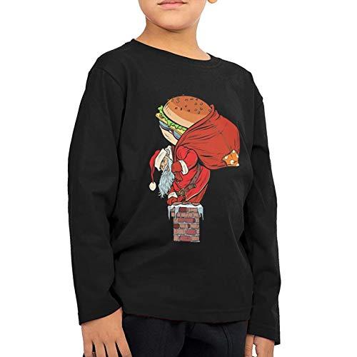 PinceponyHood Santa Climbs Into The Chimney T-Shirt Children's Shirt Round Collar Soft Sweatshirt Tee for Boy Girl Black