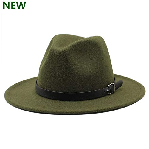 Hombres Fedoras Moda Mujer Sombrero de Jazz Verano Primavera Gorra de Mezcla Negra Sombrero Casual al Aire Libre X XL- Green-1-58-61CM