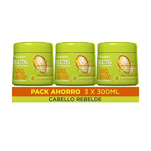 Garnier Fructis Liso & Brillo Mascarilla Capilar Pelo Liso, rebelde o difícil de alisar - Pack de 3 x 300 ml
