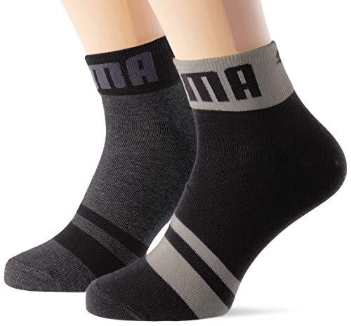 PUMA mens Seasonal Logo Men's Quarter (2 pack) Casual Sock, black, 39/42 (2er Pack)