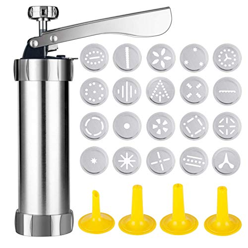 Emoly Cookie Press Stainless Steel Biscuit Press Cookie Gun Set with 20 Discs and 4 Icing Tips for DIY Biscuit Maker and Decoration