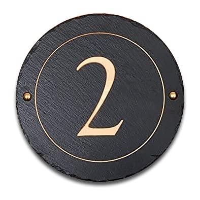 Plaque numéro de maison en ardoise rugueuse noire, 30 cm de diamètre, personnalisable avec votre numéro + 2 étiquettes pour poubelle à roulettes gratuites