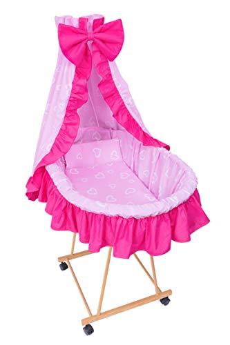 Amilian® 9tlg Textile Ausstattung für STUBENWAGEN Bollerwagen Himmel Matratze Baby Bettwäsche Herzen Rosa