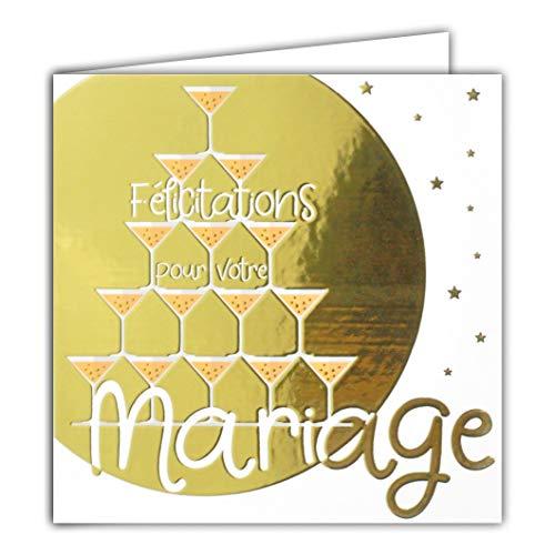Afie Carte Carrée Dorée Or Félicitations pour votre Mariage