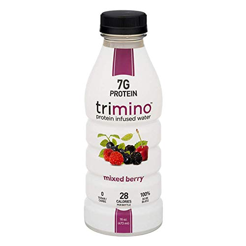 Trimino Protein Infused Water, Mixed Berry, 16 Ounce (Pack of 12)