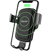 Squish Wireless Charger Car Phone Mount Air Vent Phone Holder for iPhone Xs MAX/XR/XS/X/8/8 Plus and for Samsung Galaxy Note 9/S9/S9 Plus/Note 8/S8 (Gold)