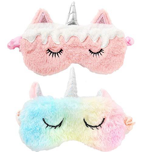 Schlafmaske Augenmask Einhorn, 2 Stück Schlafmaske Kinder Augenmaske Süß Schlafmaske Tieraugenmaske Einhorn Panda Augenbinde Plüsch Schlafbrille Lustig Augenabdeckung für Kinder Mädchen Damen-Rosa