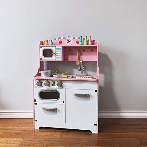 InChengGouFouX Frühkindliche Küche Spielzeug Kinder Küche Spielset aus Holz Kochgeschirr Pretend Kochen Lebensmittel Set for Kleinkind Echtkocherlebnis for Kleinkind (Color : Pink, Size : 60x28x80cm)