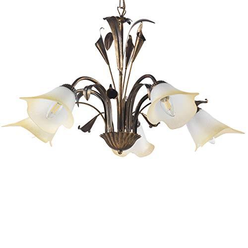 ONLI - Lampadario 5 luci in metallo marrone spennellato oro con vetri bianchi sfumati ambra