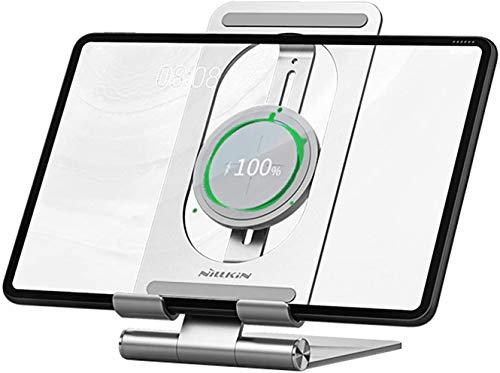 NILLKIN Soporte para Tableta Cargador inalámbrico Ajustable - 2 en 1 Tablet iPad Holder Dock Soporte de Carga inalámbrico para iPad Pro 12.9/iPad Pro 11 2020/2018, iPad Air Mini, Kindle, Samsung Tab