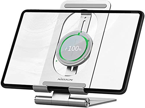 Nillkin Tablet Stand Phone Stand Holder Adjustable with Wireless Charger - 2 in 1 Tablet Holder Dock Wireless Charging Stand Compatible with iPad Pro 11,12.9 Air Mini,Kindle,Samsung Tab