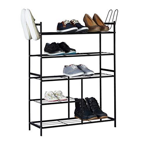 Relaxdays Meuble à chaussures SANDRA avec 5 étages étagère en métal HxlxP: 101 x 85 x 26 cm pour 16 paires commode avec poignées, noir