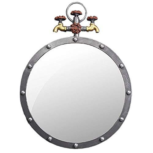 NMDCDH Espejo Redondo de Pared de Metal Antiguo, Grifo de Agua de baño de Hierro Retro, Espejos Colgantes de diseño Industrial para entradas, baños, Salas de Estar, W50 & Times; D5 & Time