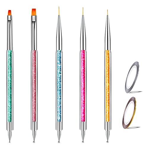7 Teilig Nagel Pinsel Set, Nagel Kunst Malerei Zeichnung Pinsel Pen für UV-Gel und Acrylfingernägel, nailart Liner Pinsel &Nageldesign Nail Art Stripes, Nagelzubehör design...