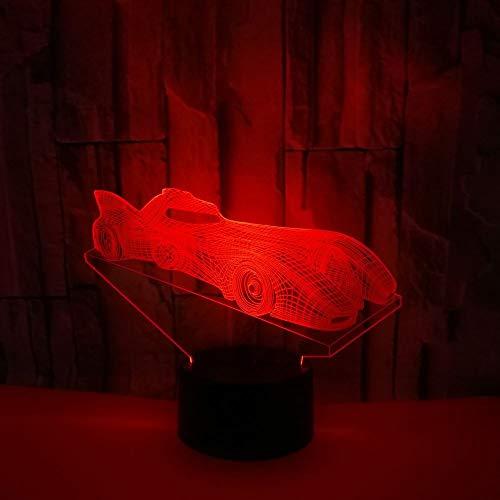 Concepto de regalo de Navidad y año nuevo Colorido 3D Racing Light Touch Control remoto LED USB Night Light Luz de mesita de noche Regulable