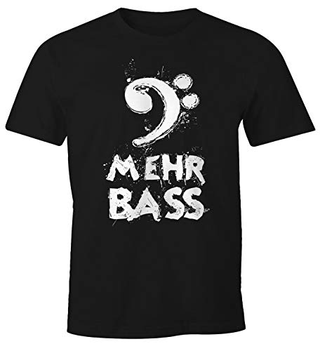 Preisvergleich Produktbild MoonWorks Herren T-Shirt Mehr Bass Musik Party schwarz L