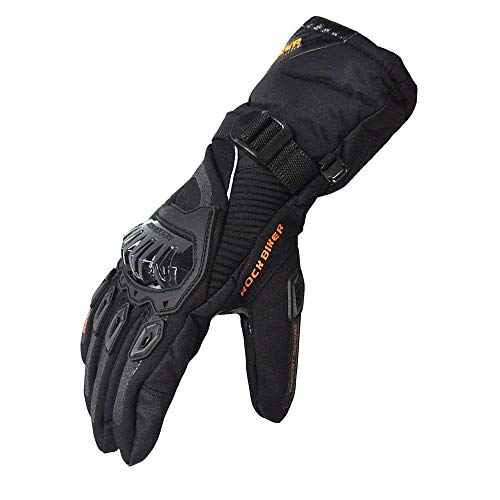 kemimoto Winter Motorcycle Gloves, Warm Waterproof Motorbike Gloves with Hard Knuckle Protection Gloves for Winter Riding, ATV, Scooter, Snowmobile - Black, X-Large
