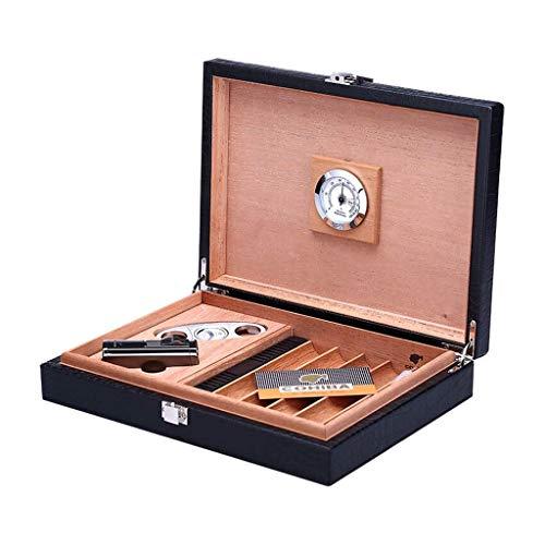 HUMIDOR VIAJE PORTÁTIDO CEDAR CEDAR Forro de madera puede contener 20 cigarros de cuero Cicline compacto con humidificador e higrómetro con la bandeja de cigarros y el cigarro de cigarros Regalo de lo
