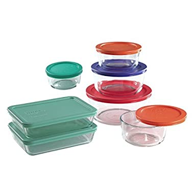 Pyrex 14 Piece Food Storage Containers Glass Round And Rectangle Set With Colored Lids. Use For Storage Food , Baking Dish, And Lunch Box