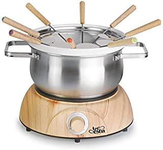 Artestia Electric Chocolate & Cheese Fondue Set with Two Pots (Stainless Steel and Ceramic), Serve 8 persons (Stainless St...