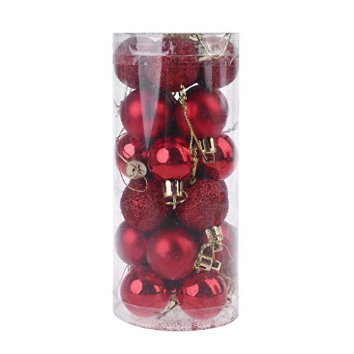 Yuxiale 24pcs 30mm Multi-Colors Christmas Ornaments, Shatterproof Christmas Ball Ornaments Decoration