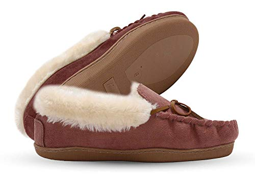 Pembrook Ladies Moccasin Slippers - L - Pink - Micro Suede Indoor and Outdoor Non-Skid Sole - Plush Slip On House Shoes for Adults, Women, Girls