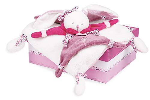 Doudou et Compagnie - Doudou Lapin Rose - Doudou Plat Lapin Cerise - Cadeau De Naissance - Lapin Cerise - DC2703
