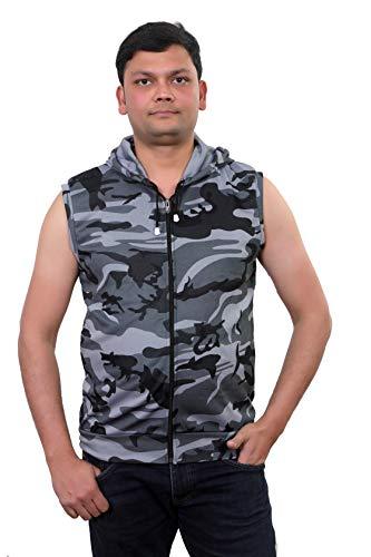 innovative edge Men's Cotton Camouflage Army Military Print Sleeveless Hooded Tshirt
