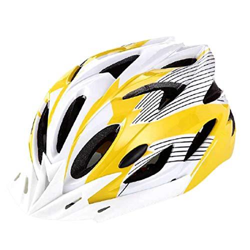 fuchsiaan Fahrradhelm & Ski Helm fur Herren Damen, Erwachsene Atmungsaktiv Leichte Fahrrad Schutzhelm Cap mit Rücklicht, Mountain Road Bike Trekking City Rennradhelme Yellow White