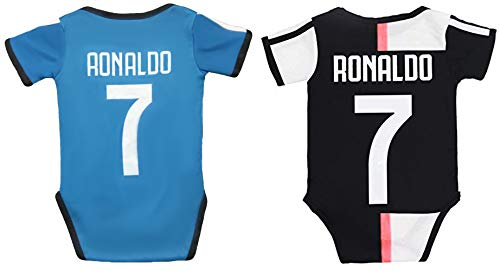 Baby Cristiano Ronaldo #7 Soccer Jersey Baby Infant and Toddler Onesie Romper Premium Quality - Home and Away Pack of 2 (12-24, 2020 Home and 3rd)